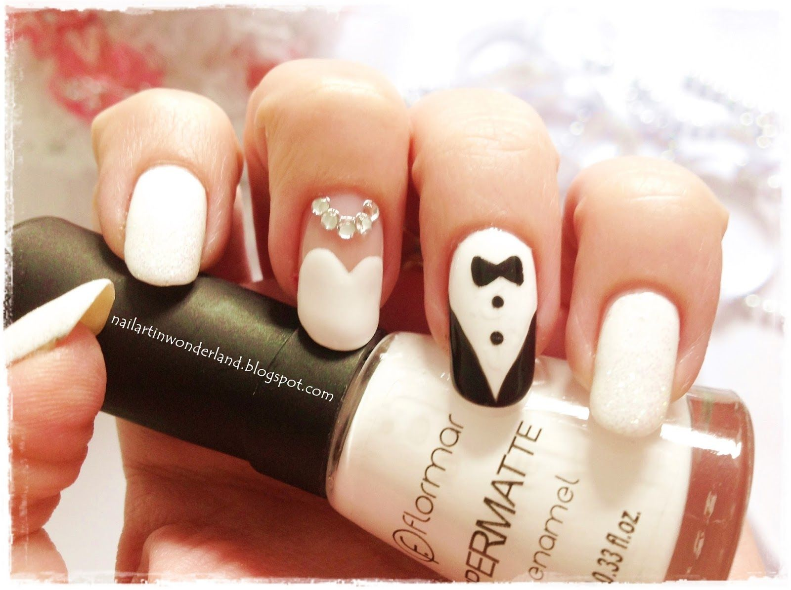 Wedding Nail Art with Bride and Groom http://nailartinwonderland ...