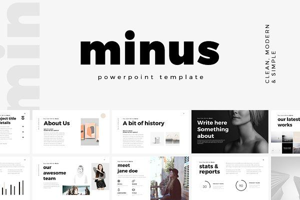 Minimal PowerPoint Template Bundle - Presentations Work - history powerpoint template