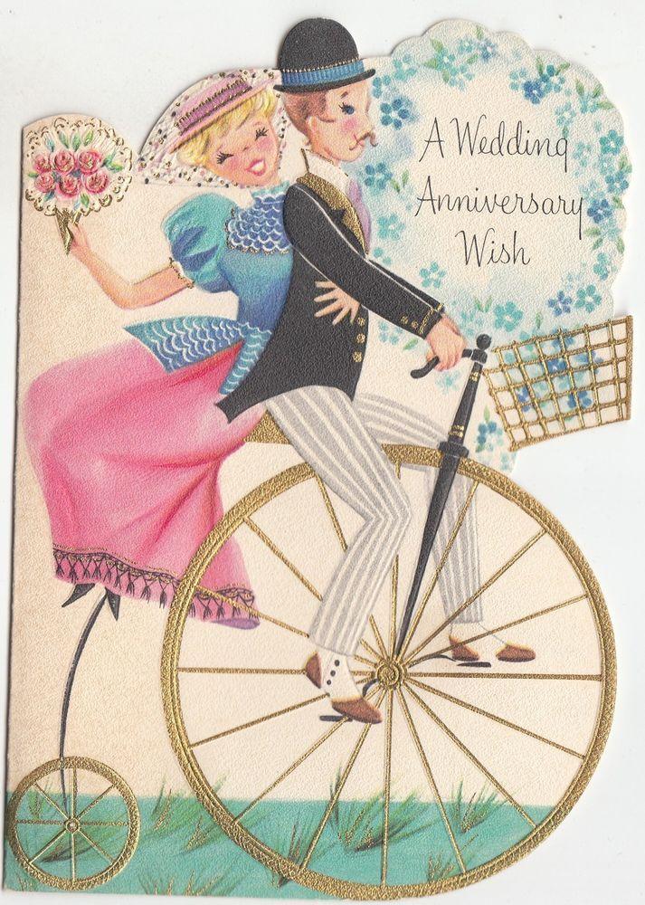 Vintage Unused Embossed Tall Bike With Couple Birthday Sunshine Greeting Card Vintage Holiday Cards Vintage Greeting Cards Wedding Anniversary Cards