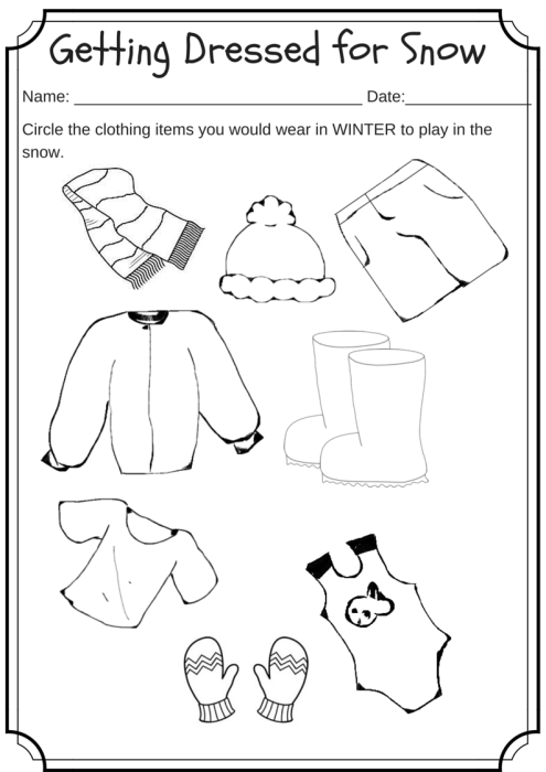 Winter Weather Wear Preschool Worksheet What Would You Wear On A Cold Day Winter Preschool Weather Worksheets Preschool Worksheets