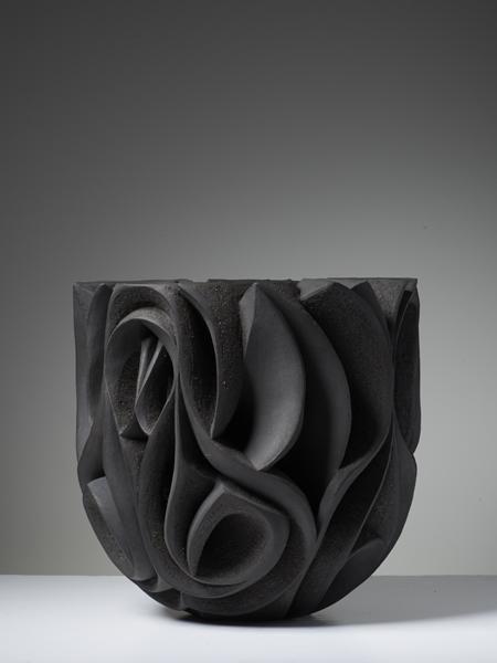Halima Cassell, Pa-Kua, gallery Joanna Bird / Oooooh man, this #ceramic vessel looks like sandcarved glass! So incredible.