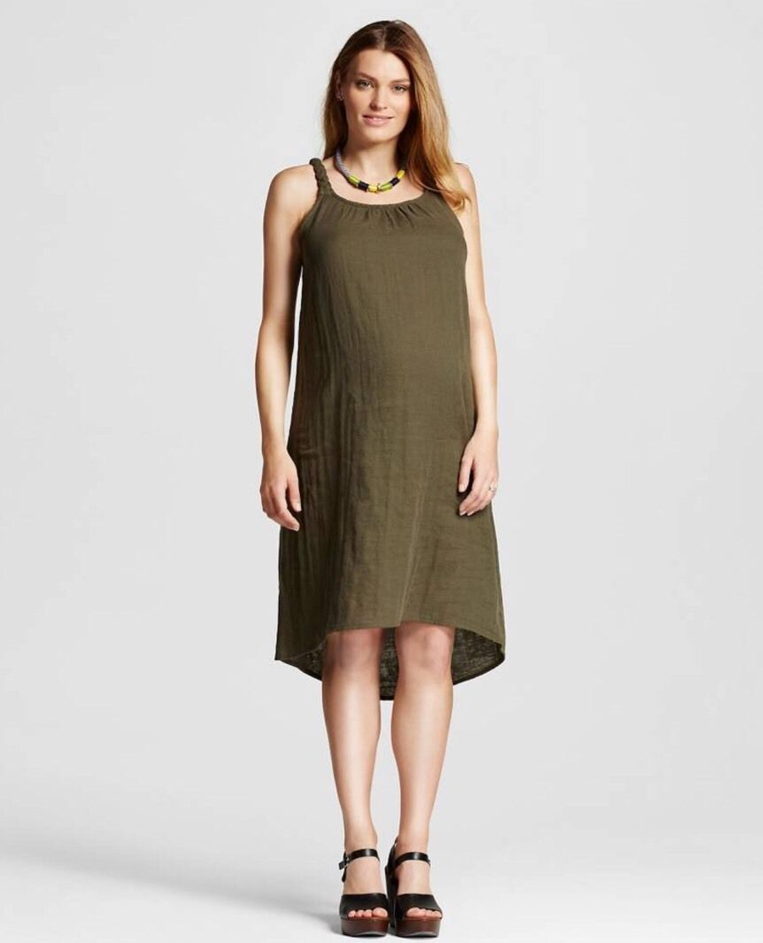 60fa5e9ea0f Nwt Liz Lange Maternity Olive Green Braided Dress Sleeveless Size Xs S Small