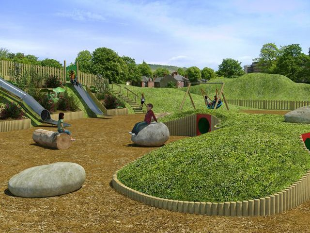 Grassy berm boulders and slide leake play scape plaza for Mounding grass
