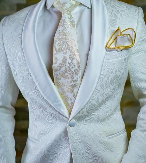 Custom jacquard white floral / paisley tuxedo jacket with satin ...