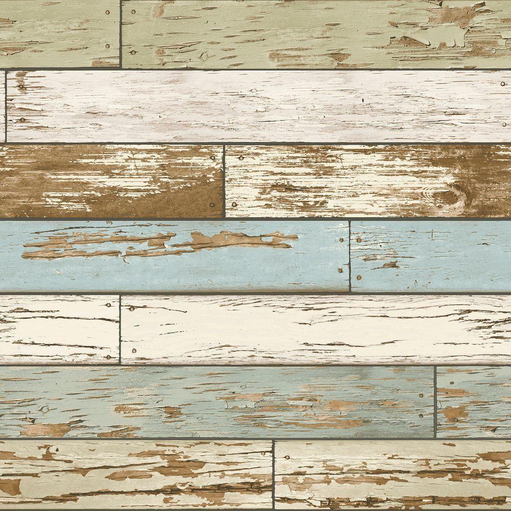NuWallpaper Multi Color Old Salem Vintage Wood Peel and