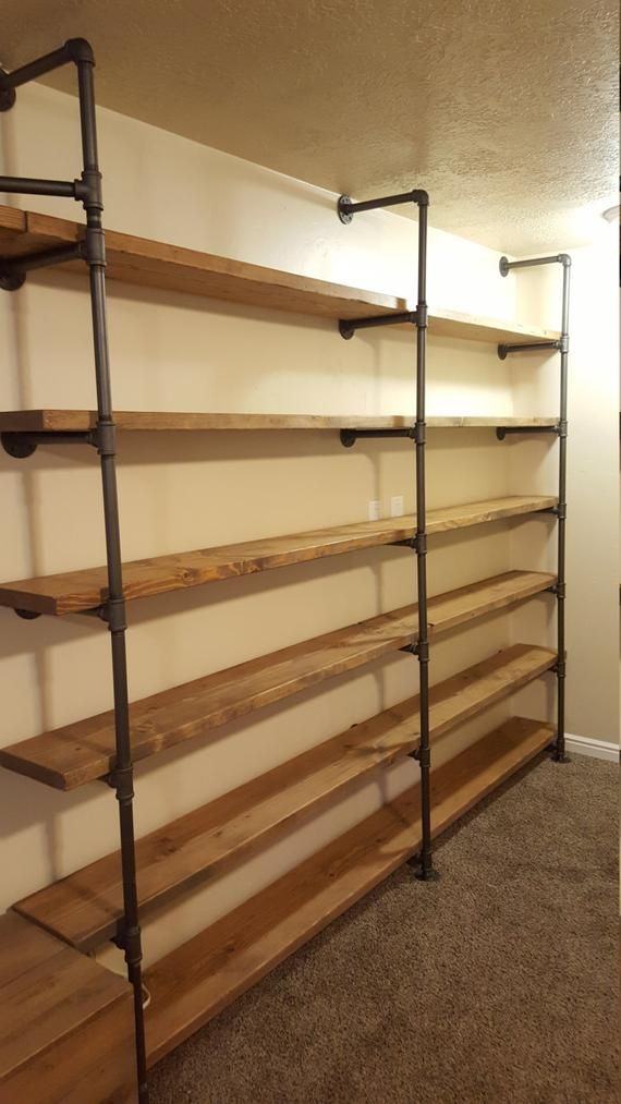 Large Customized Pipe Shelving Wall Unit / Pipe Book Case / Wall Shelving #largepantryideas