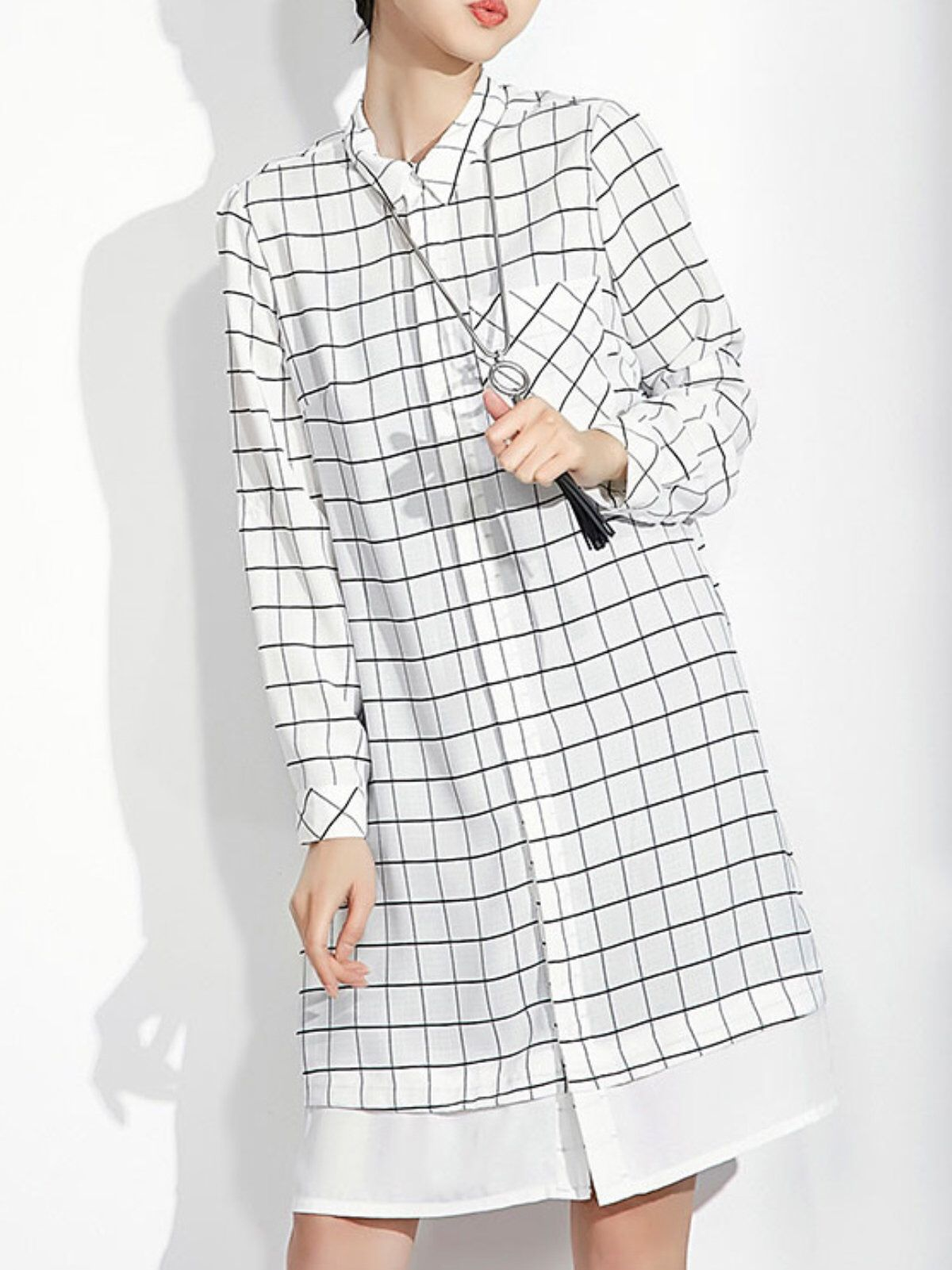 Chiffon crew neck casual long sleeve checkeredplaid midi dress