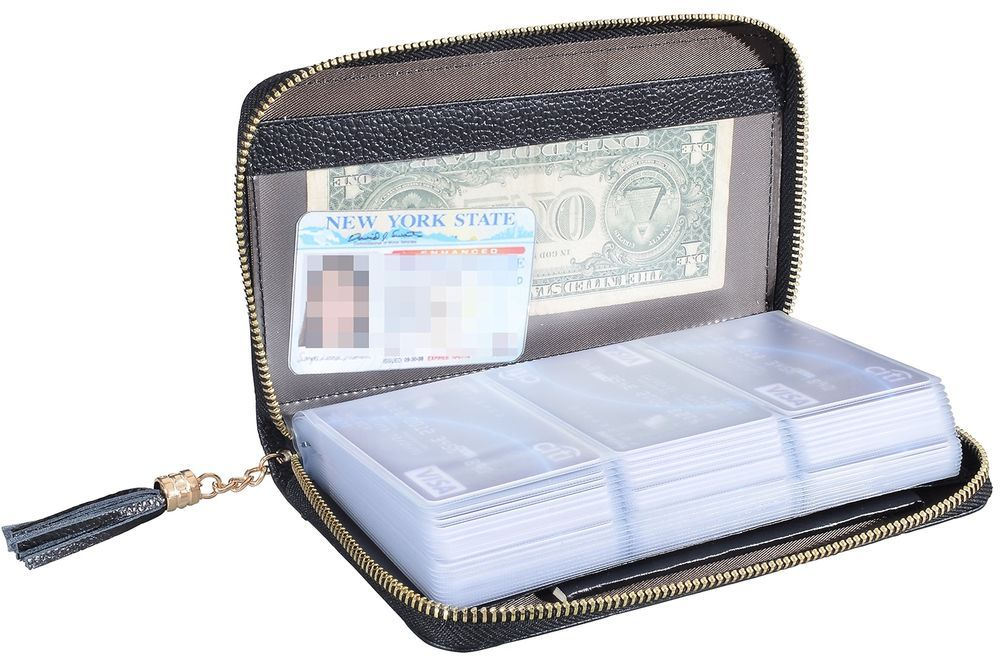 Easyoulife credit card holder wallet womens zipper leather