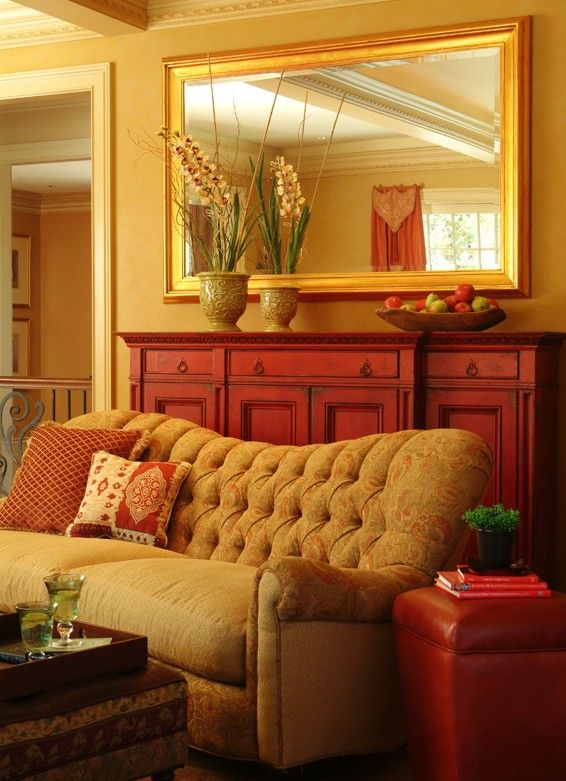 Gold and Red Living Room ~ I love these colors together ...