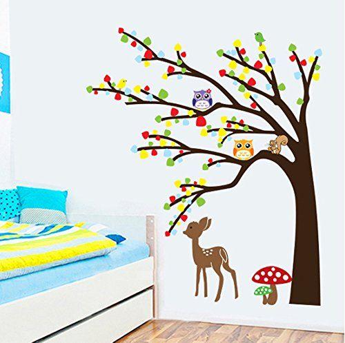 La Chambre des Enfants P/épini/ère Autocollants Amovibles ufengke/® Arbre Color/é de Fleurs Mignons Hiboux Lion de Cerfs Stickers Muraux
