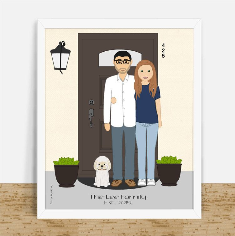 Personalized Housewarming Gift Front Door House Portrait Custom