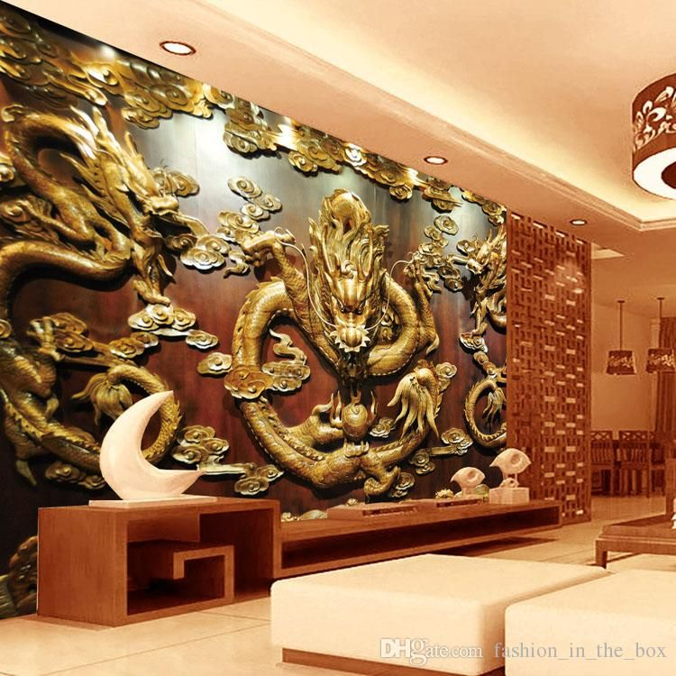Wood Wall Mural custom 3d wallpaper wood carving dragon photo wallpaper chinese