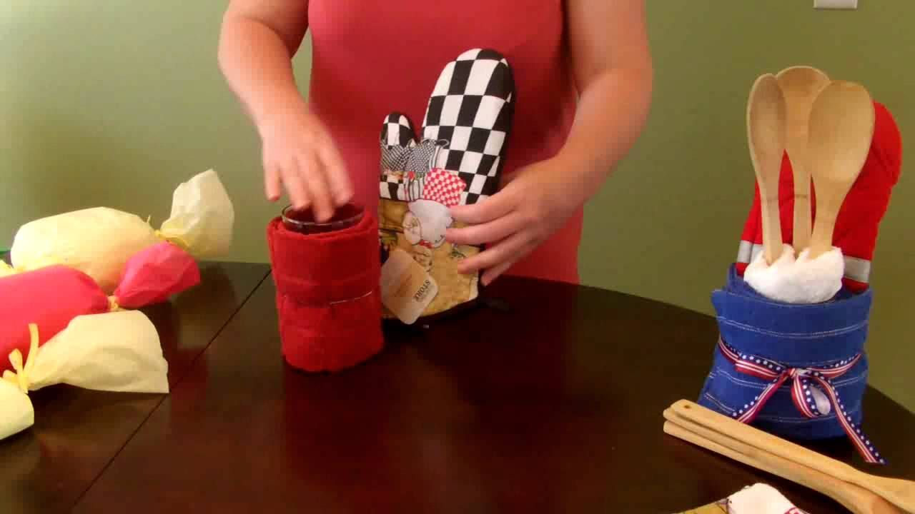 How To Make A Kitchen Towel Gift Set Housewarming Via Youtube Kitchen Towel Cakes Towel Cakes Diy Towel Cakes