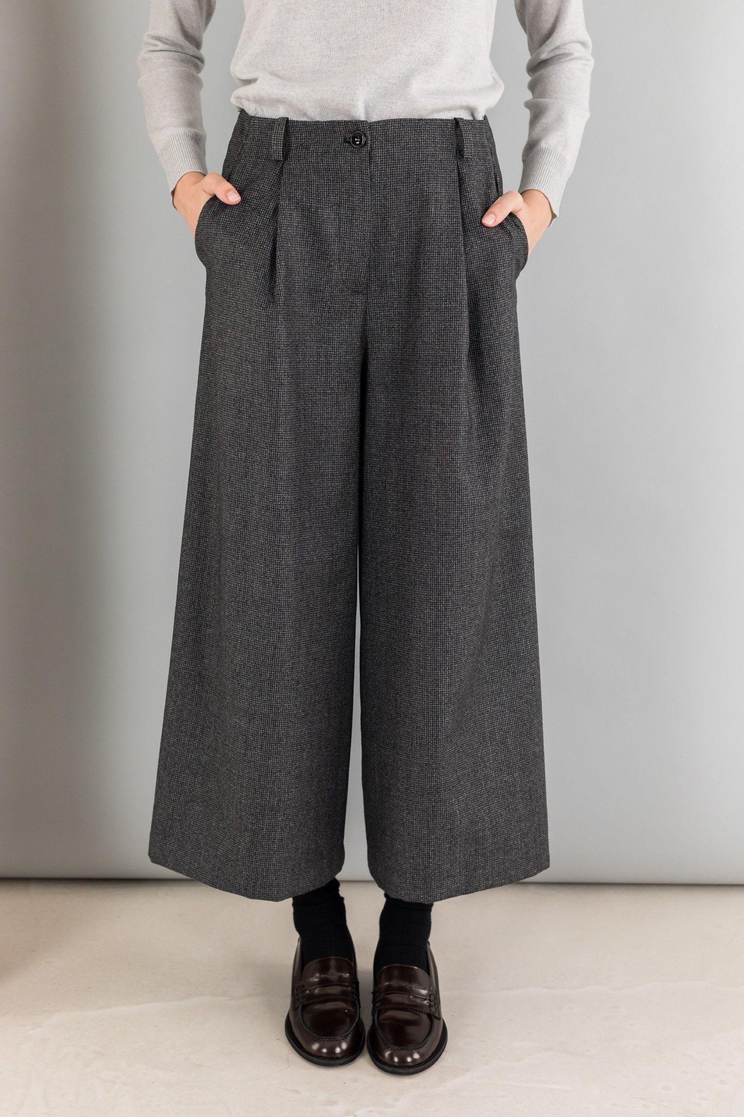 In Pantalone Tre Varianti Disponibile Lana Con Piega Culotte PrRwrqt