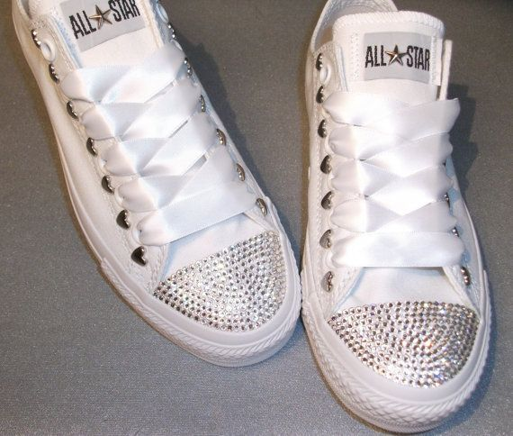 outlet store b44ac a3a85 Swarovski Crystal Mono White Converse Lo s Bling Womens Adult sneakers Teen  Chuck All Star