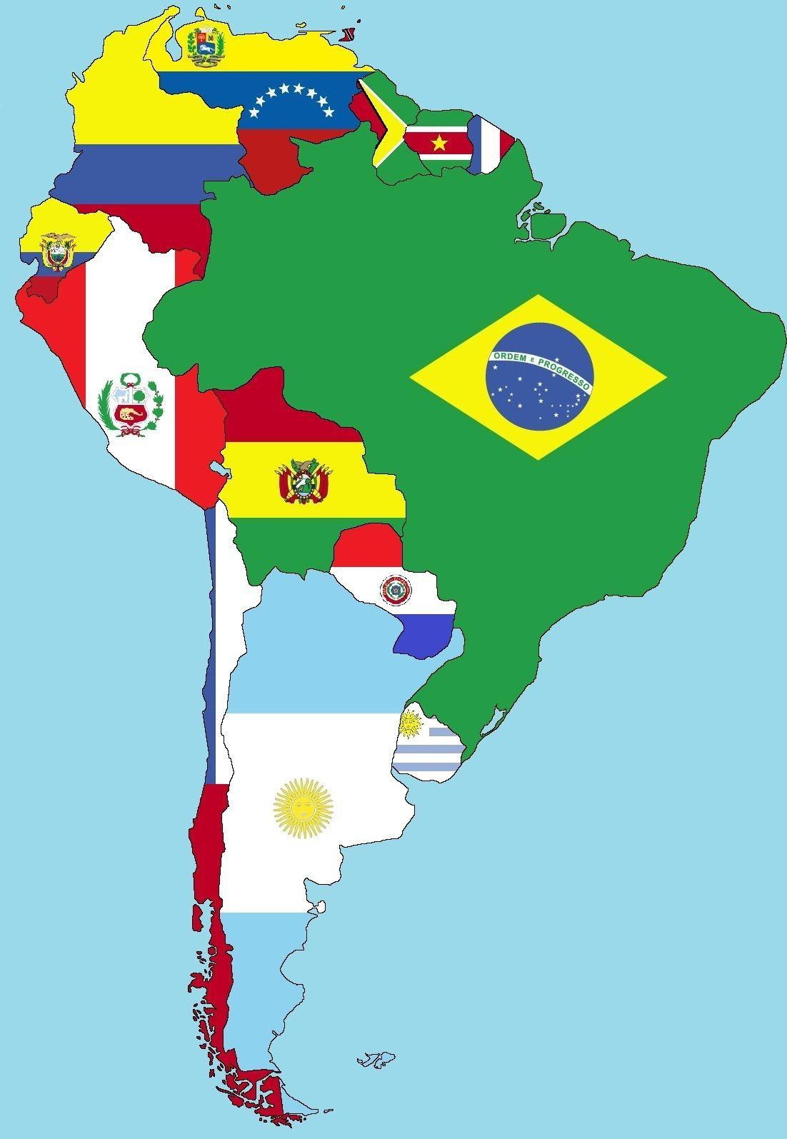 Banderas De América Del Sur Mapa De America Del Sur Mapa De America Latina Banderas De América Latina