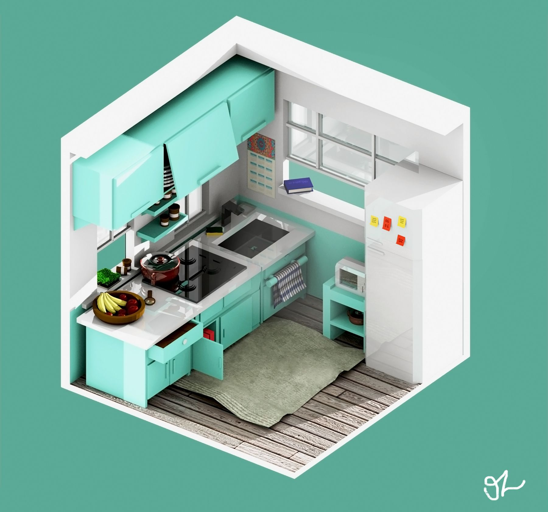 Kitchen Architecture Lowpoly Isometric Voxel Interior Blender Design Game Room Design Hotel Room Design