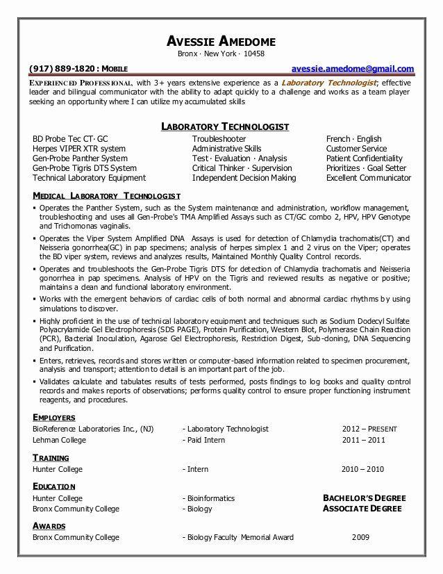 25 resume for laboratory technician in 2020  laboratory