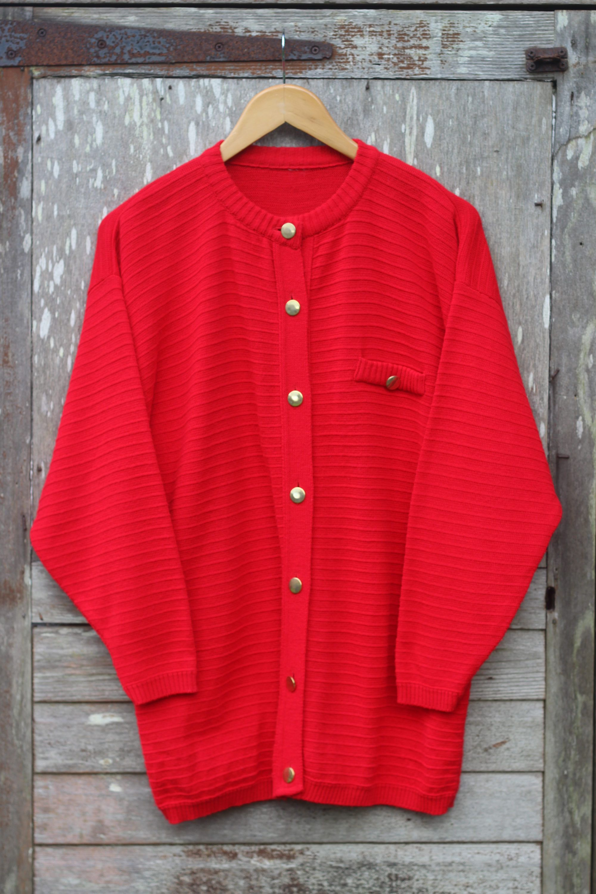 Vintage Red Knit Cardigan with Bronze Buttons 41aR2FGltC