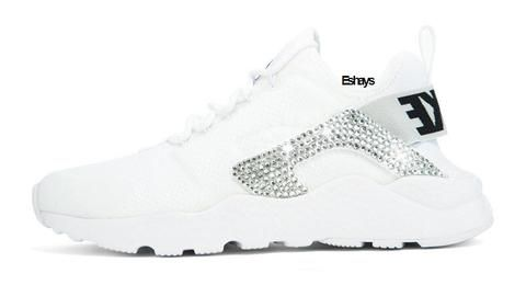White or Grey Nike Air Huarache Ultra with Bling  102e0bd6be