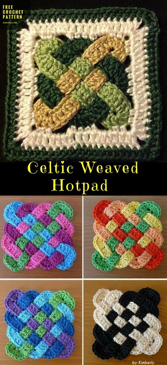 Celtic Weaved Hotpad [Free Crochet Pattern | Häkeln, Handarbeiten ...