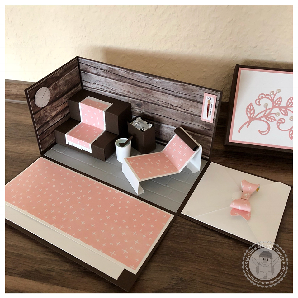 stampin 39 up explosionsbox mit einer kleinen sauna. Black Bedroom Furniture Sets. Home Design Ideas