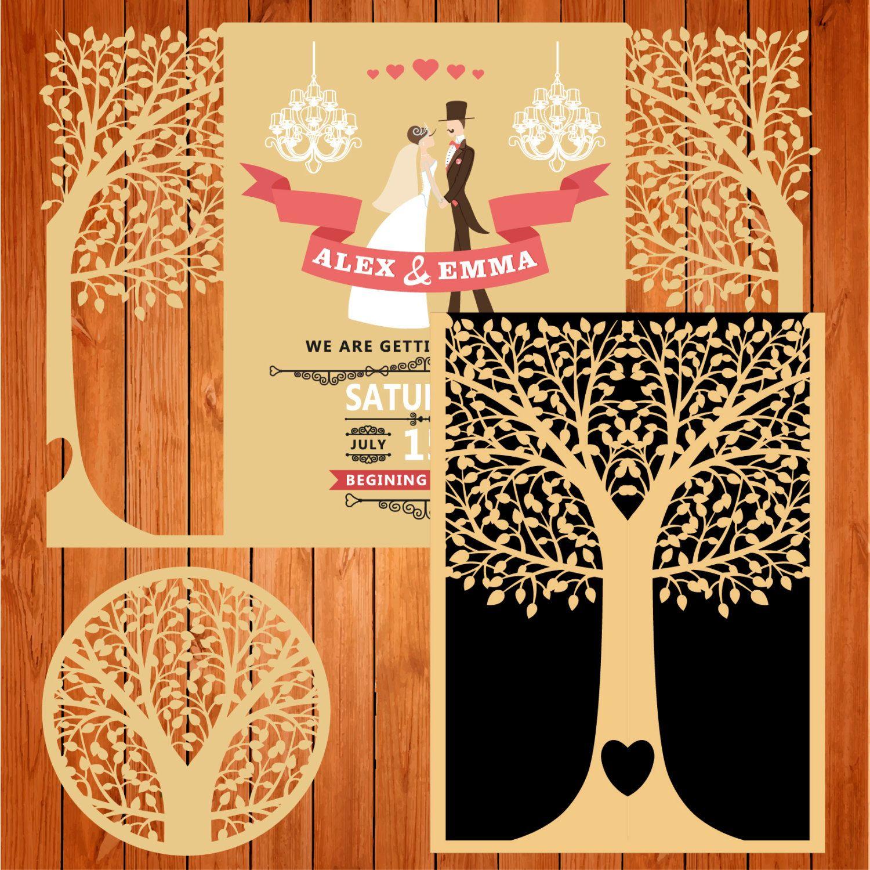 Invitación de la boda tarjeta plantilla puertas árbol, hojas (ai ...