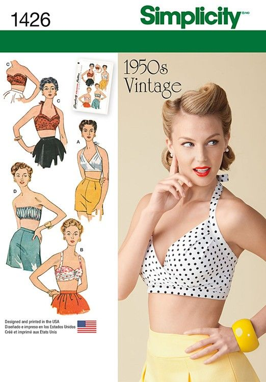 The Essential 1940s Style Blouse Vintage Frills: Misses Vintage 1950s Bra Tops Simplicity Pattern 1426