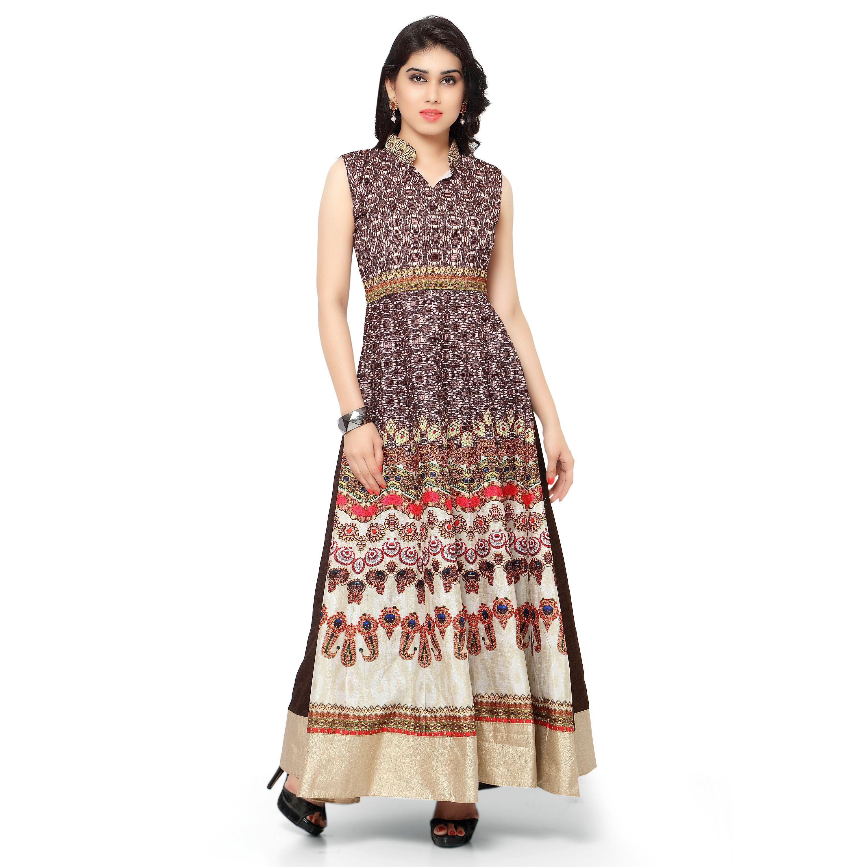 2045343ab8d Kapadewala New Latest Maroon Printed Banglore Silk Semi Stitched Free Size  XXL Party Wear Gown for Women