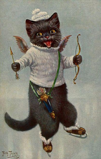 CATS FRIDGE MAGNET KATZEN CHATS AFTER  CHRISTMAS DINNER
