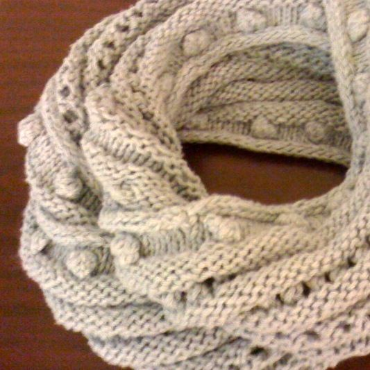 New Street Knitter Bobble And Eyelet Infinity Scarf Knit Cowls And