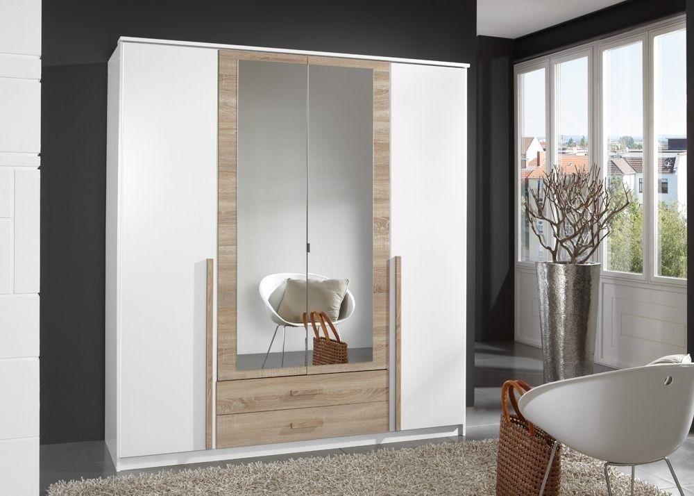 Kleiderschrank 180,0 cm Weiß Eiche Sägerau 5004 Buy now at https - schlafzimmerschrank weiß hochglanz