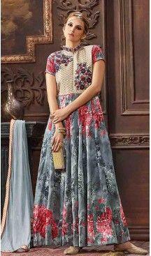 17f9bf98a4 Slate Grey Color Banarasi Silk Abaya Style Party Wear Suits | FH474673481