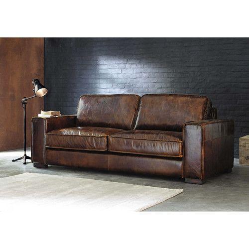 Canapé vintage 3 places en cuir marron | Salons, Industrial and ...