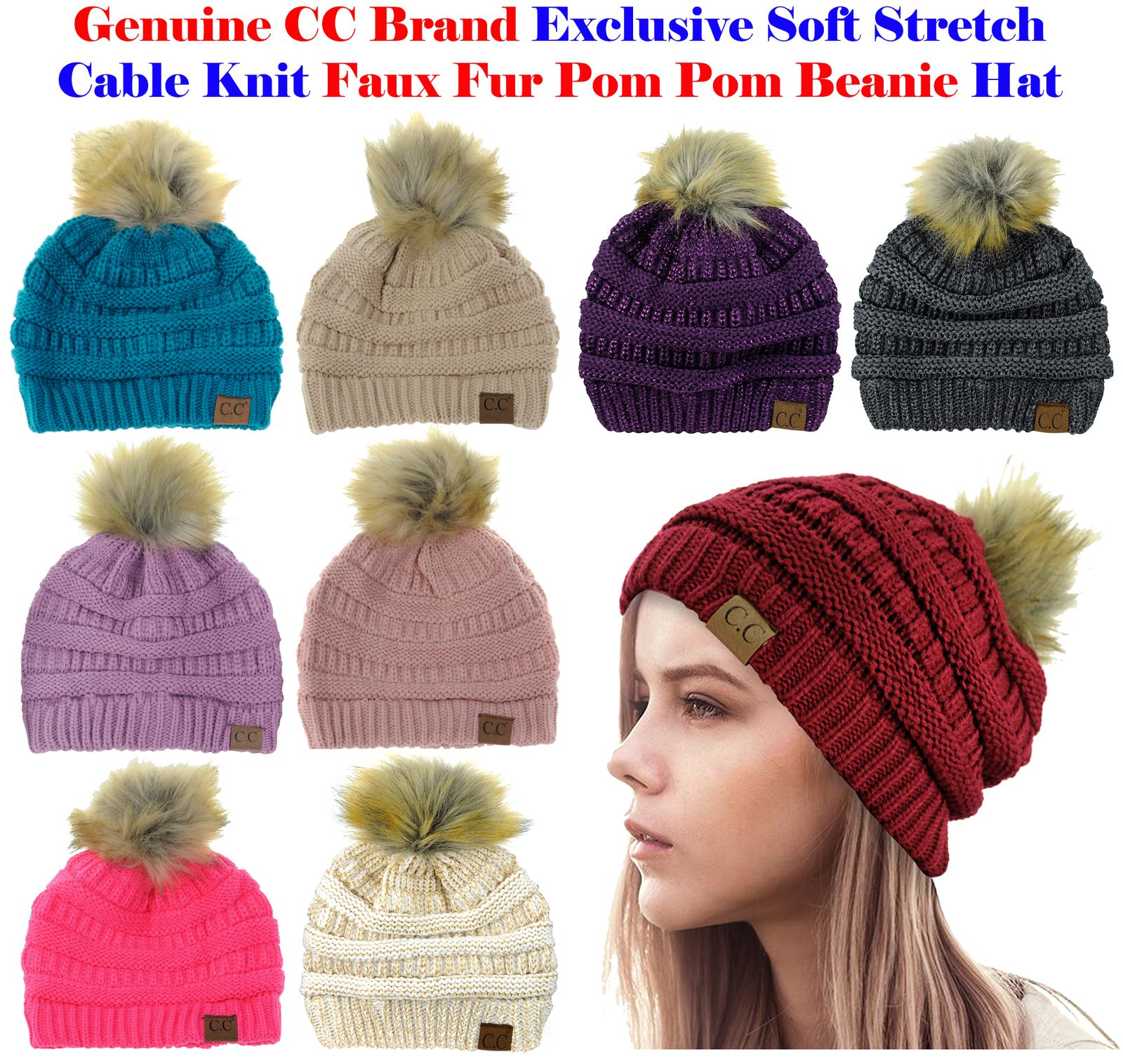 Hats 45230  New! Cc Brand Exclusive Soft Stretch Cable Knit Faux Fur Pom Pom 9c0c93ec689