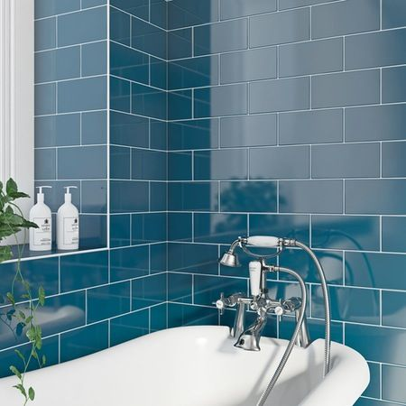 Explore Bathroom Inspiration, Bathroom Ideas, And More! Navy Blue Metro  Gloss Tile ...