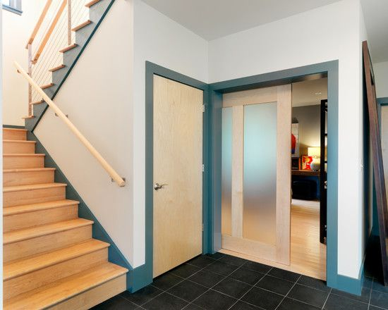 Cozy Translucent Sliding Doors : Sliding Translucent Door And Open Stairway For Walkout At Contemporary Staircase