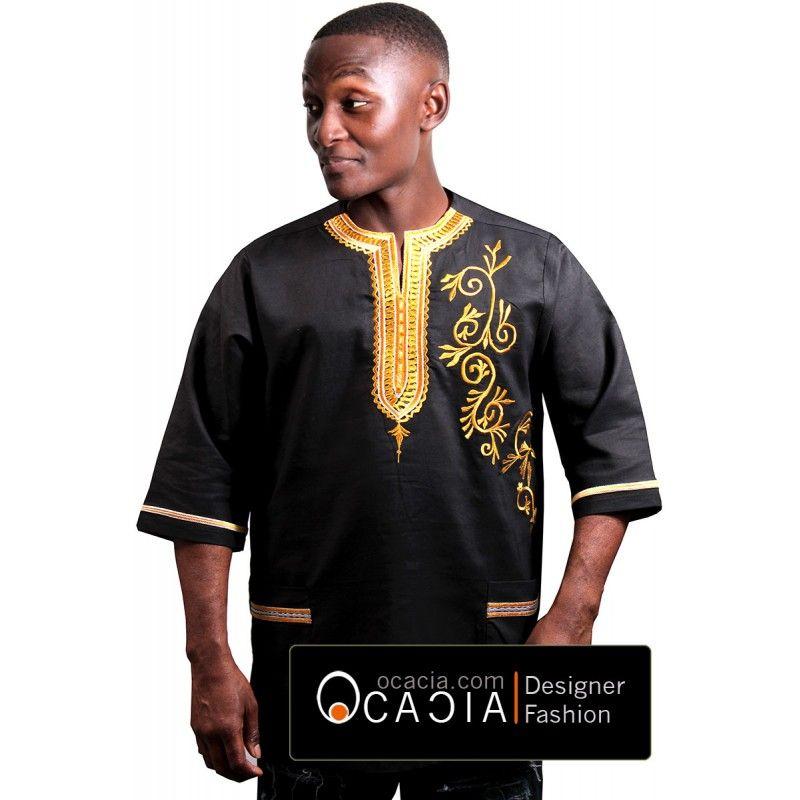 African Floral Men\'s Dashiki Linen African Fashion Senegal   Afro ...