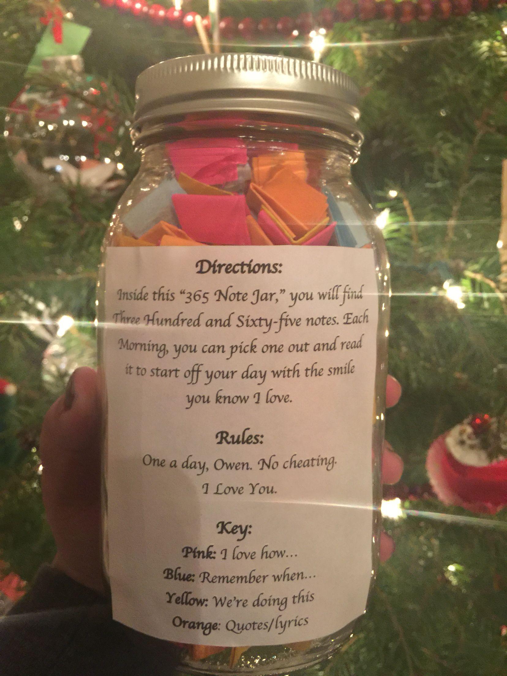 365 Day Note Jar For Boyfriend Or Girlfriend Gifts