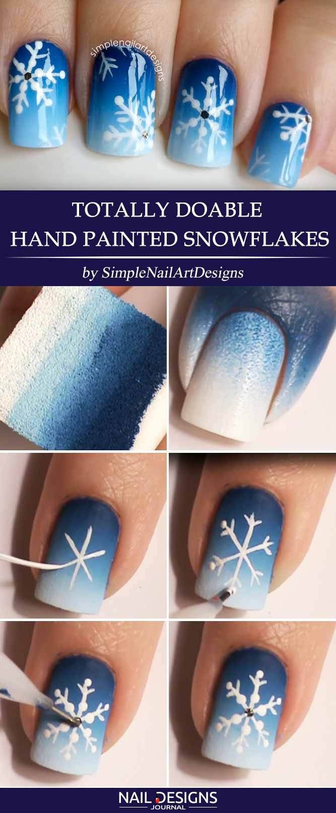 Totally Doable Hand Painted Snowflakes Snowflake Nail Design Snowflake Nail Art Nail Designs