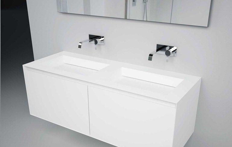 Piano lavabo doppio singolo in Corian® MYSLOT - Antonio Lupi Design ...
