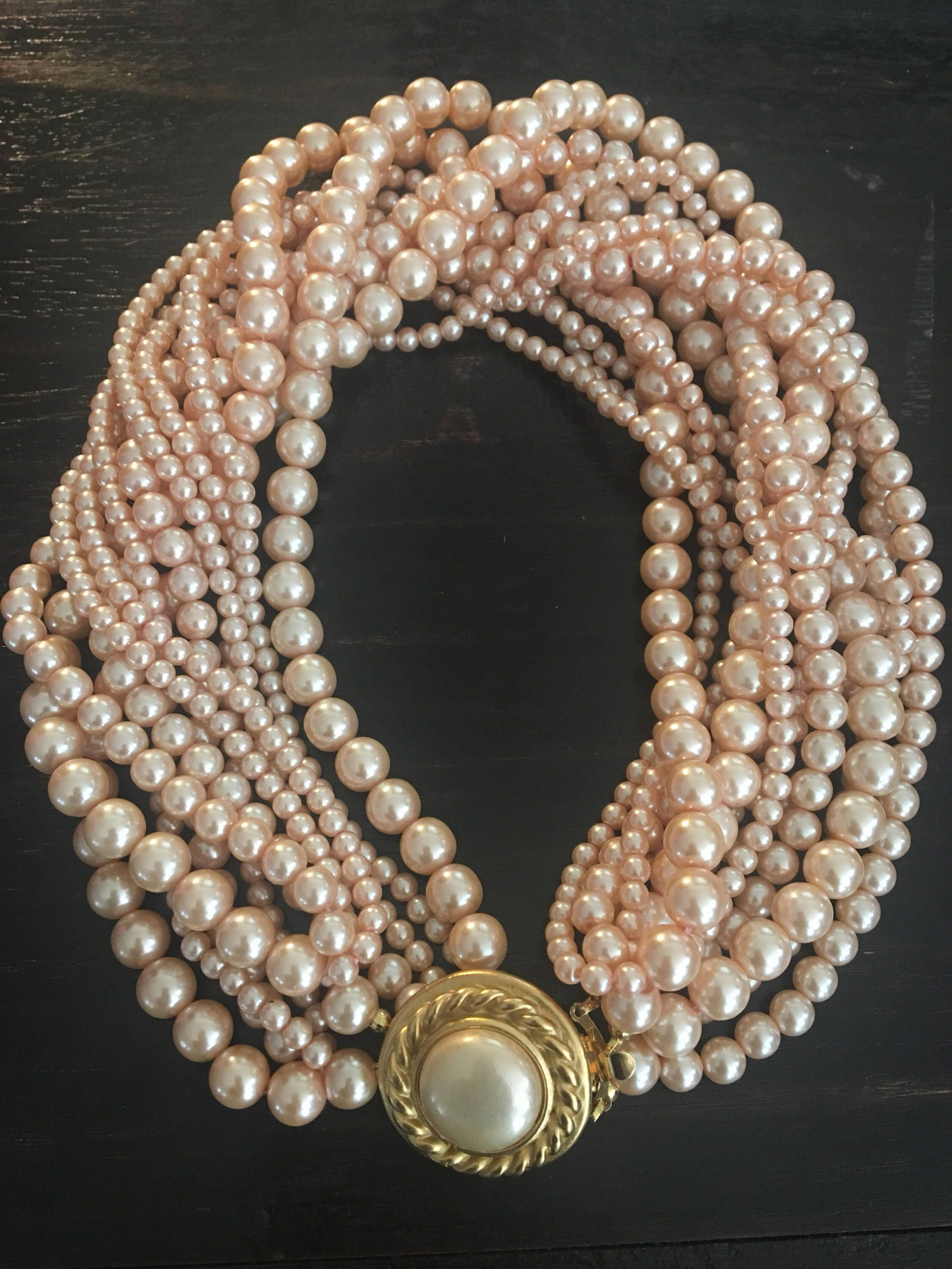 Great Gift for your Great Girl: Vintage Carolee Faux Pearl Multi Strand  Necklace #etsyshop #greatgift