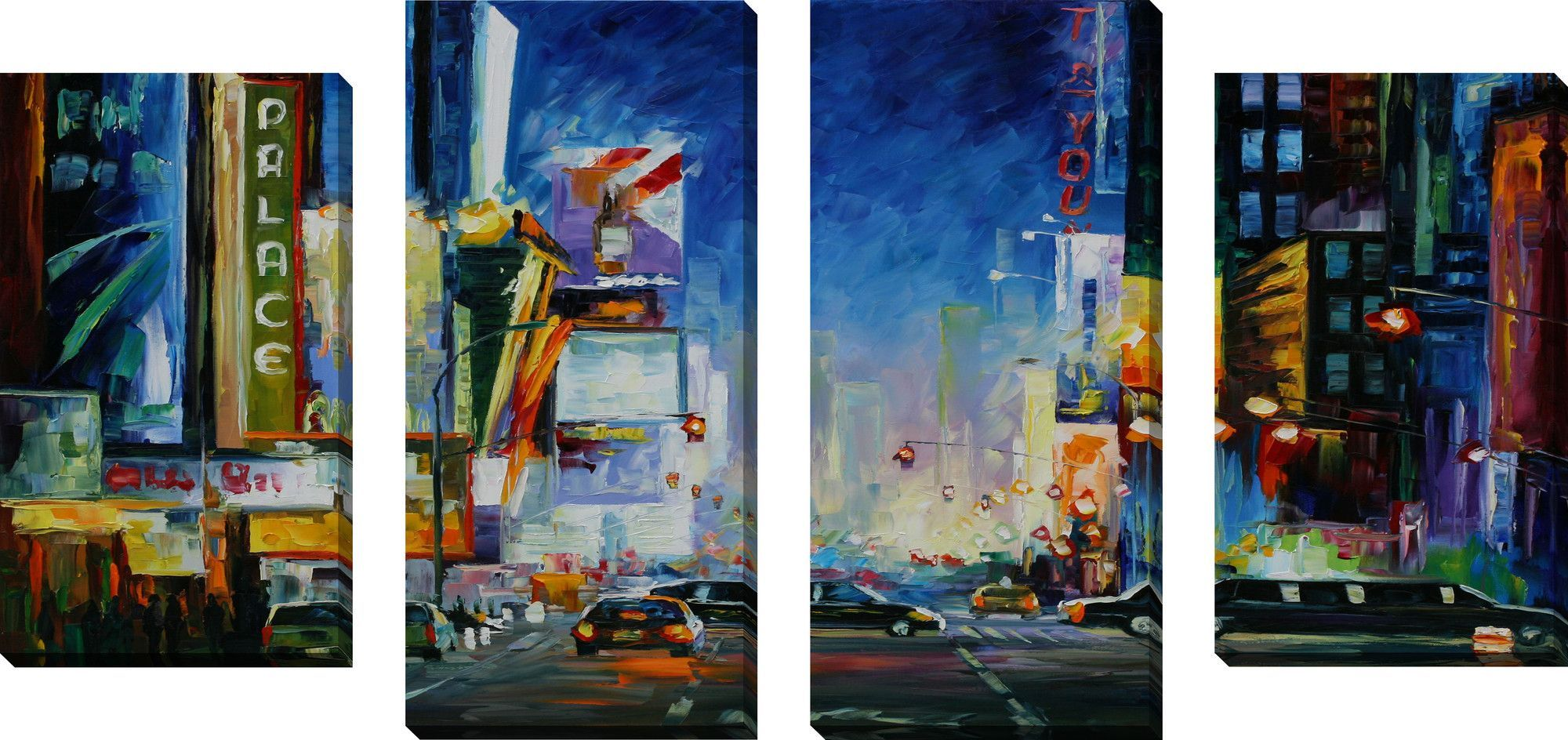 Broadway By Leonid Afremov 4 Piece Painting Print On Wrapped Canvas Set Large Canvas Wall Art Canvas Wall Art Set Canvas Wall Art