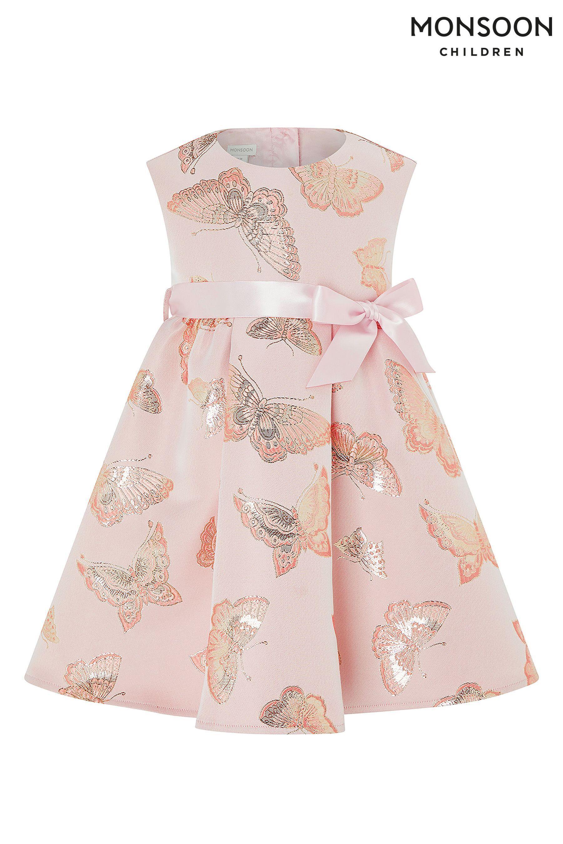 a813b0ce8 Girls Monsoon Pink Baby Nora Butterfly Jacquard Dress - Pink | kids ...