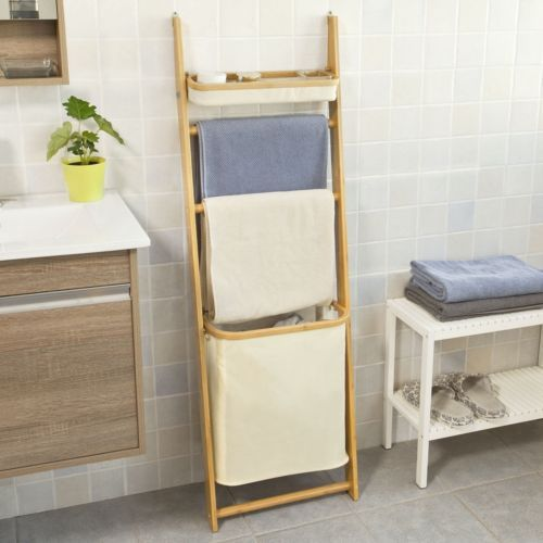 sobuy etagere echelle salle de bain porte serviettes panier a linge frg88 mi fr mobiliers. Black Bedroom Furniture Sets. Home Design Ideas