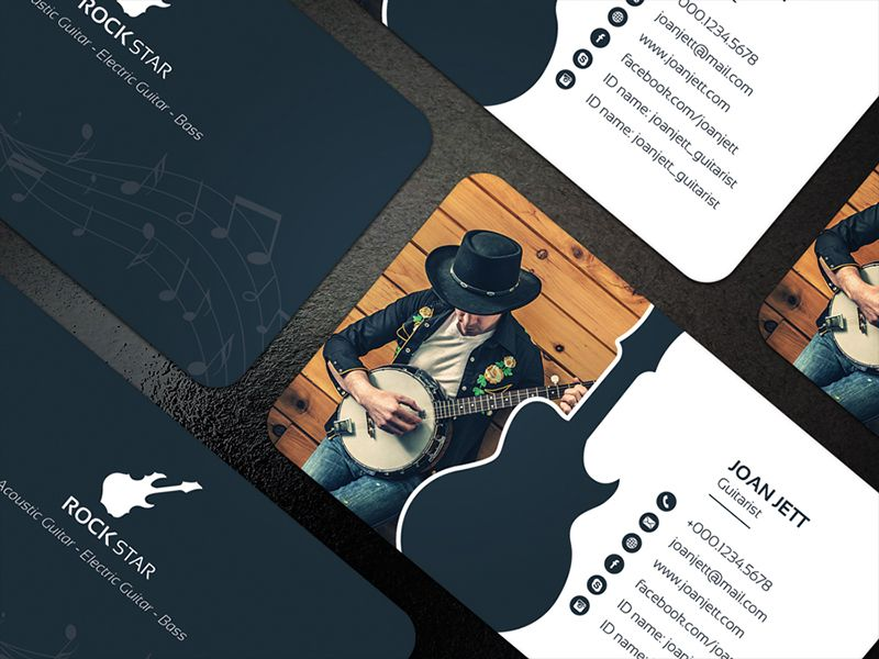 Guitar Musician Business Card | Business cards, Business and Card ...