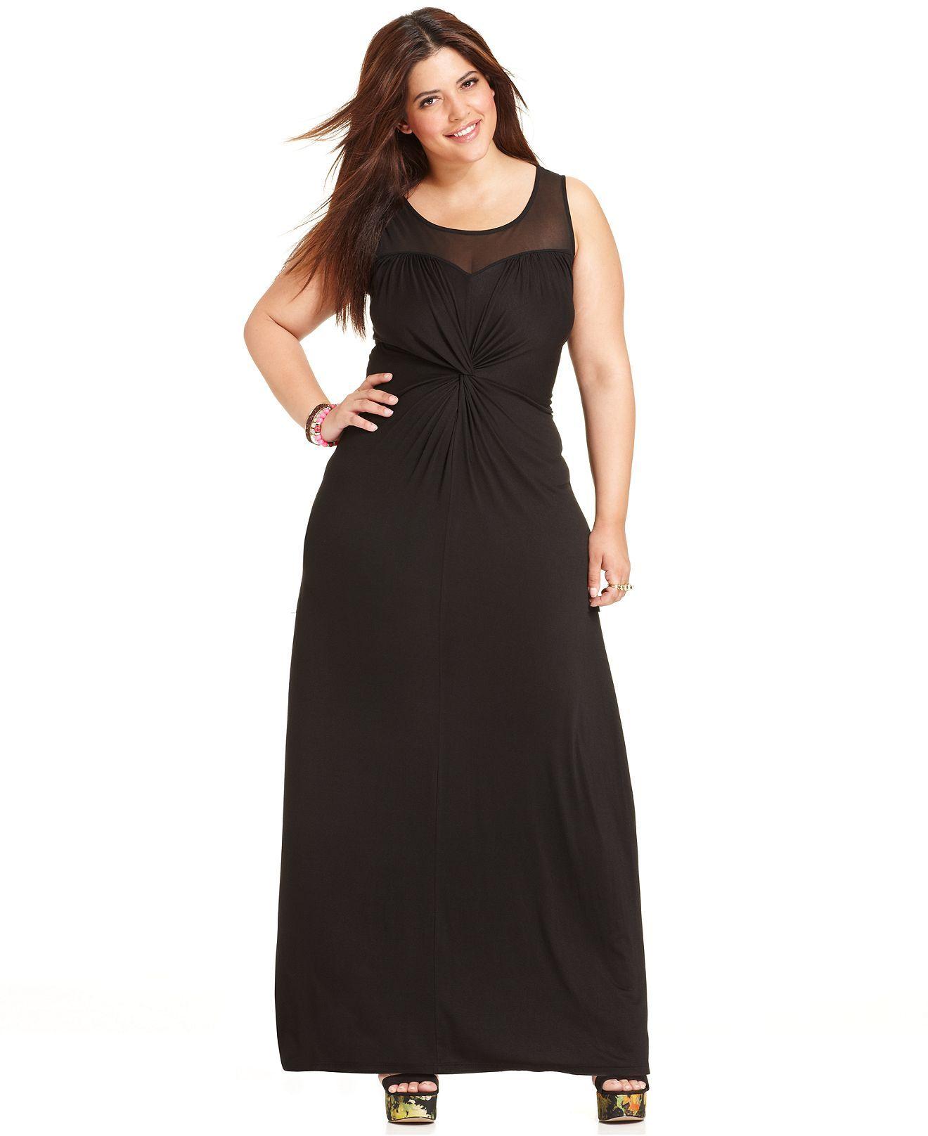 Soprano Plus Size Dress, Sleeveless Twist-Front Sheer-Back ...