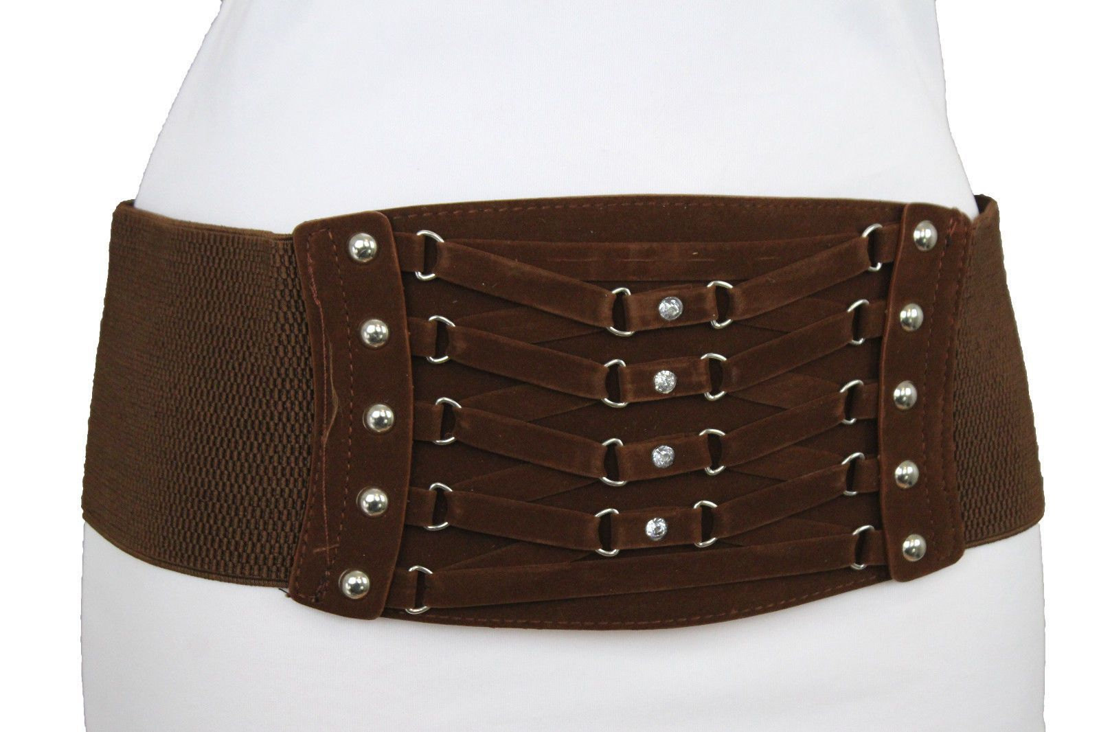 Women Fashion Dark Brown Wide Belt Gold Metal Buckle Elastic Faux Leather S M