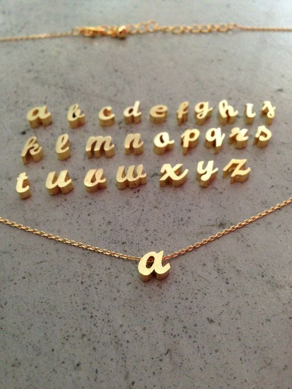 Lower case initial necklace gold initial gold letterinitial lower case initial necklace gold initial gold letterinitial letter letter necklace personalized necklace gift for her custom jewelry aloadofball Choice Image