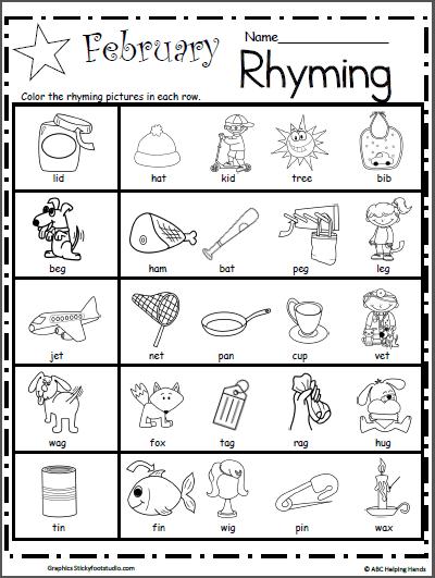Kindergarten Rhyming Worksheets for February - Made By Teachers